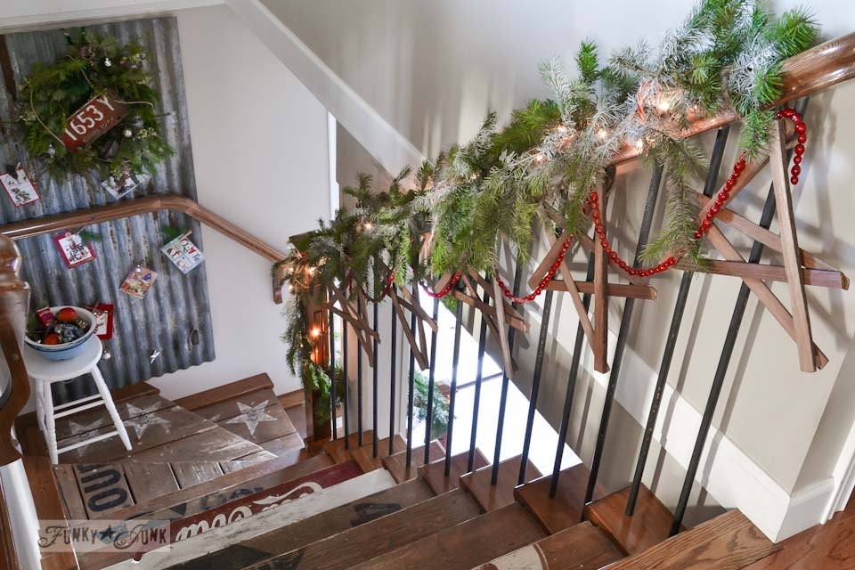 Fire kindling Christmas stars on a stairway / Funky Junk Interiors