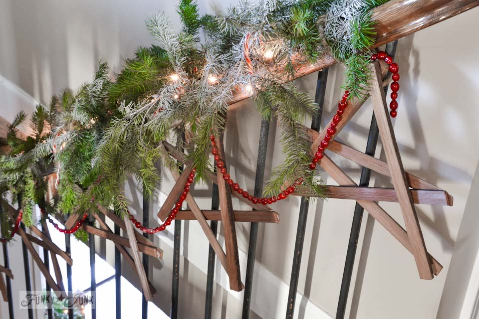 Firewood kindling wooden stars / Funky Junk Interiors Christmas Home Tour 2013 via https://www.funkyjunkinteriors.net/