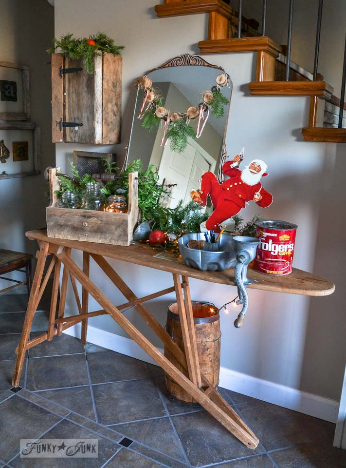 Vintage ironing board entry table / Funky Junk Interiors Christmas Home Tour 2013 via https://www.funkyjunkinteriors.net/