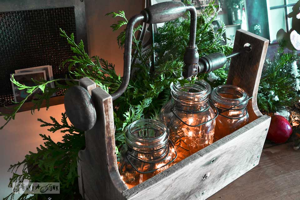 Drill handled tool box mason jar illuminaries / Funky Junk Interiors Christmas Home Tour 2013 via https://www.funkyjunkinteriors.net/
