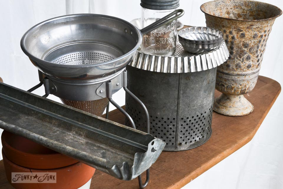 Galvanized containers /  A junky Christmas kitchen / salvaged finds used to deck out this kitchen for Christmas via https://www.funkyjunkinteriors.net/