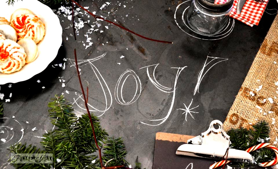 JOY in chalk /  A junky Christmas kitchen / salvaged finds used to deck out this kitchen for Christmas via http://www.funkyjunkinteriors.net/