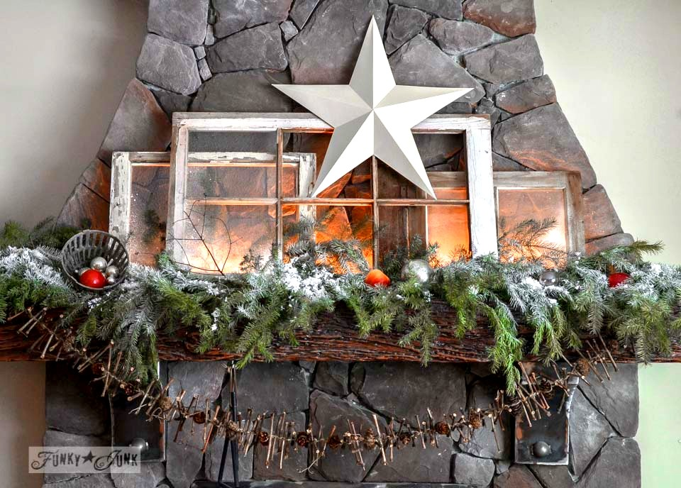 Illuminated old windows Christmas mantel via http://www.funkyjunkinteriors.net/