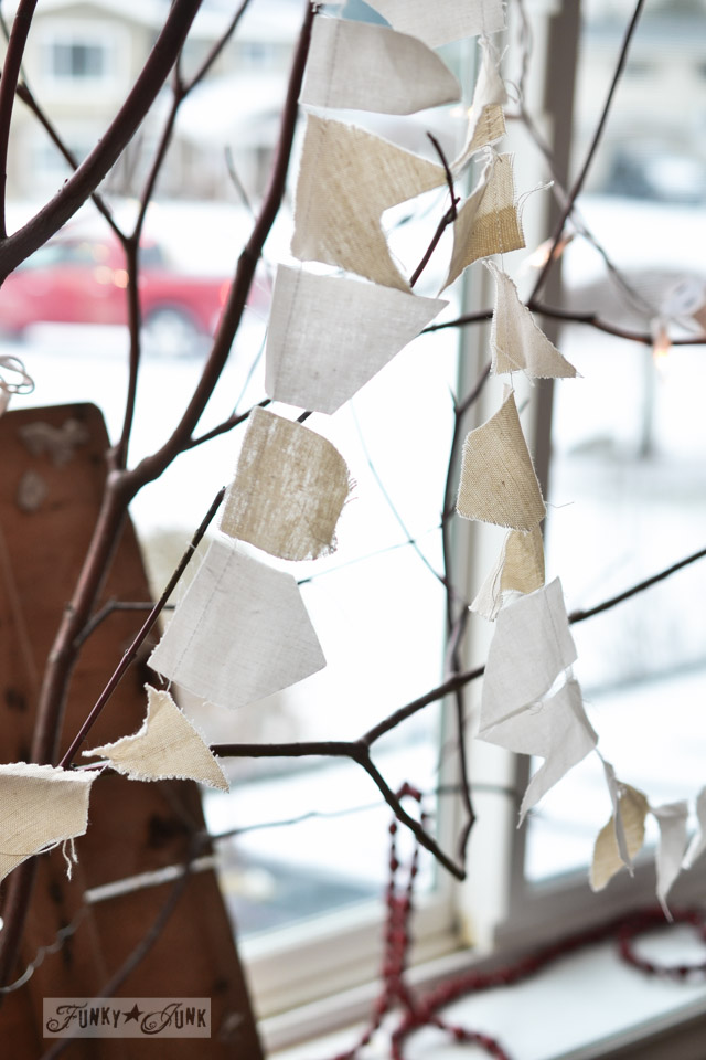 Make a winter tree from tree branches via http://www.funkyjunkinteriors.net/