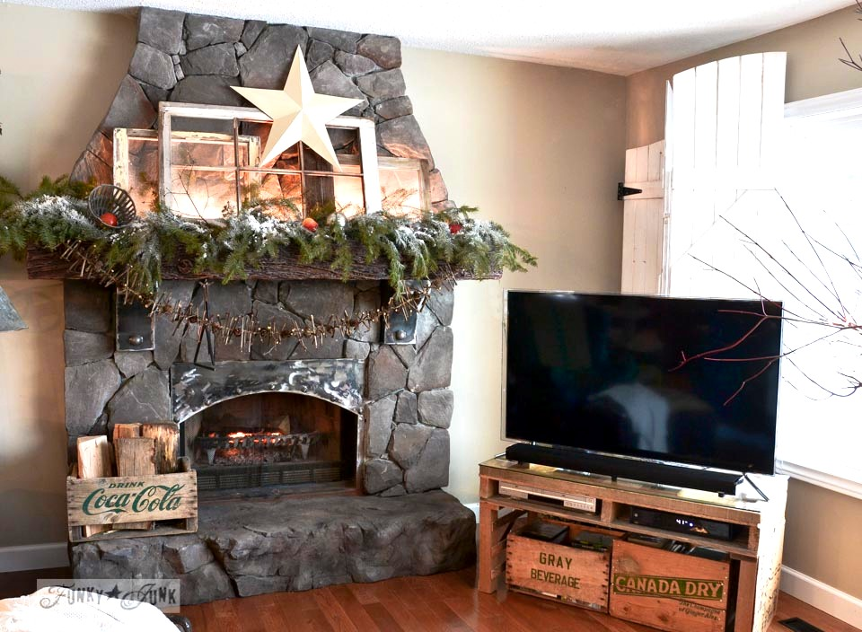 Fireplace in livingroom / Funky Junk Interiors Christmas Home Tour 2013 via https://www.funkyjunkinteriors.net/