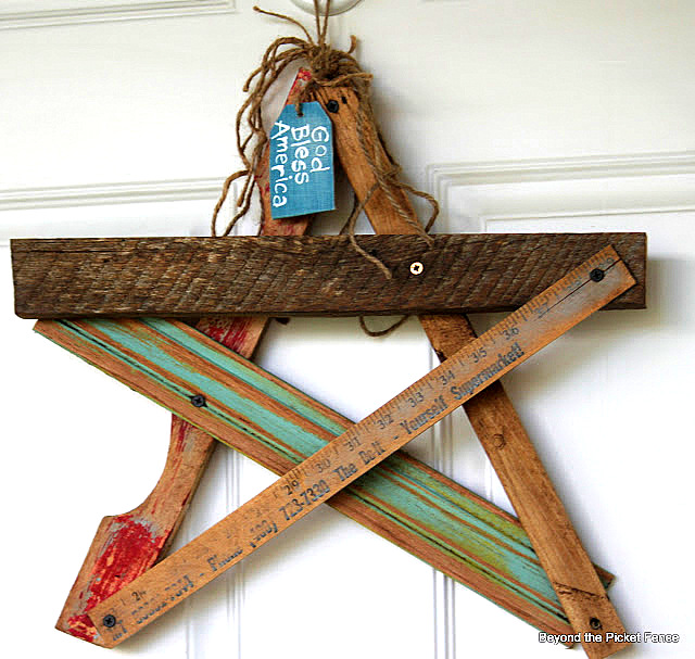 Salvaged star door decor by Beyond the Picket Fence