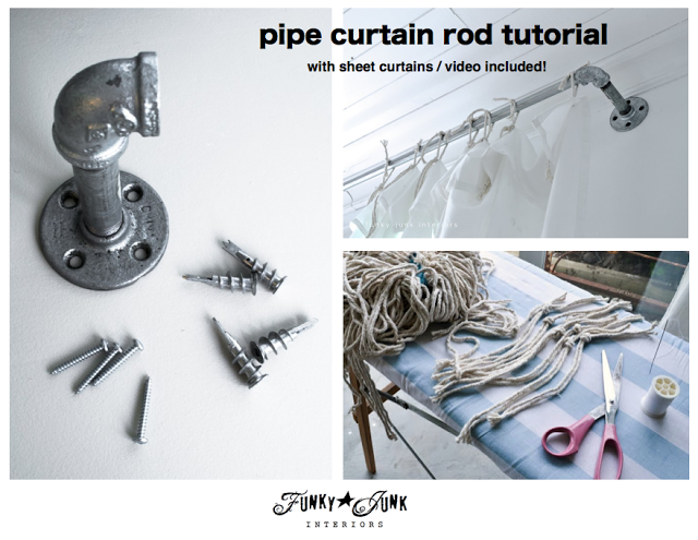 Pipe curtain rod tutorial via https://www.funkyjunkinteriors.net/