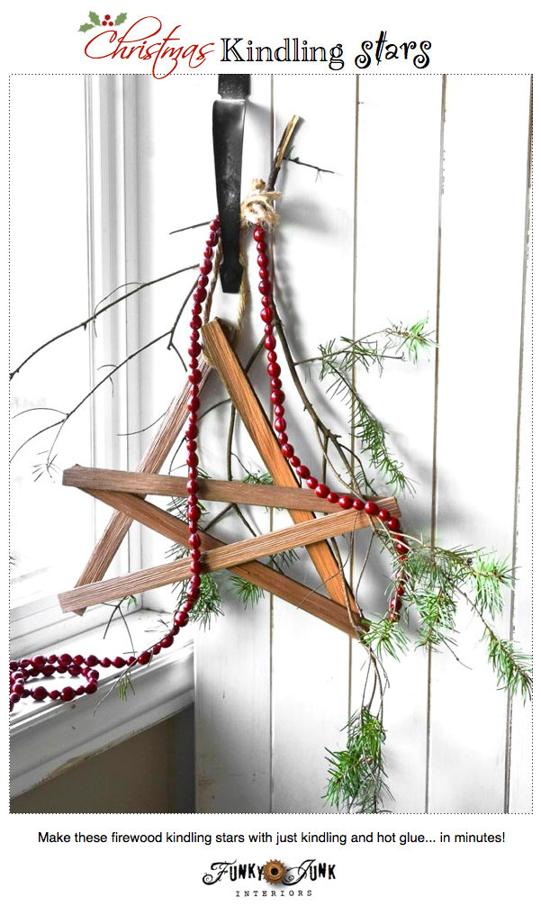 Make these Christmas firewood kindling stars with just kindling and hot glue... in minutes! via https://www.funkyjunkinteriors.net/