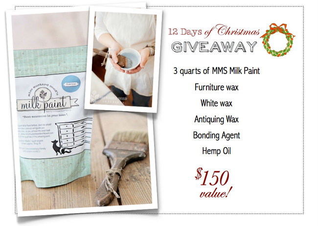 12 Days of Christmas Miss Mustard Seed Milk Paint Giveaway via https://www.funkyjunkinteriors.net/