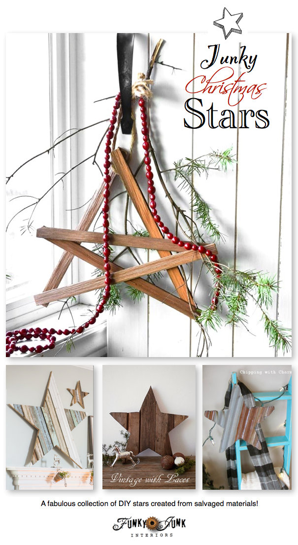 Junky Christmas Stars - fabulous DIY stars created from salvaged junk! Features and a link up via https://www.funkyjunkinteriors.net/