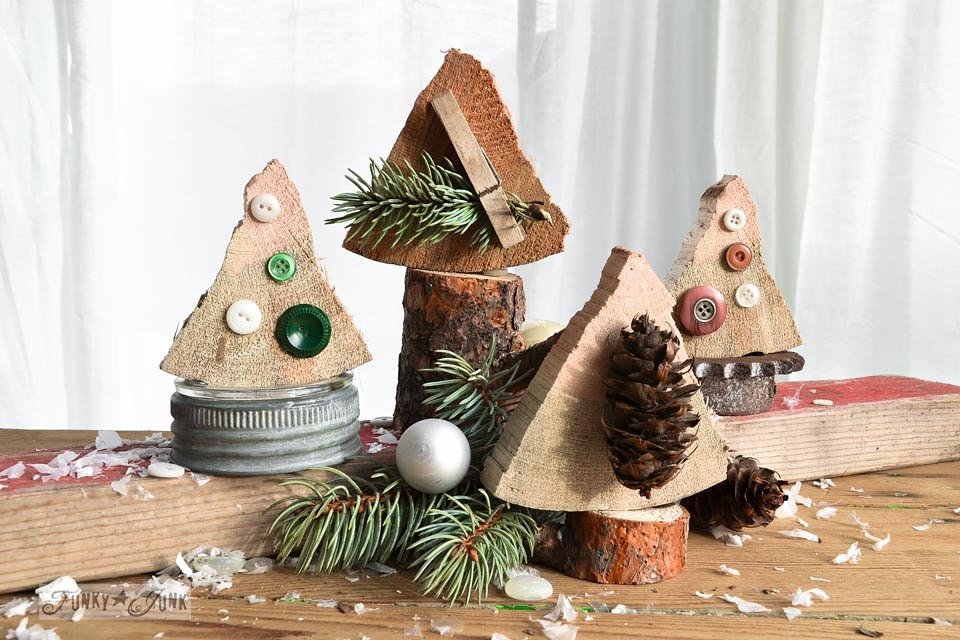 firewood cut Christmas trees on FunkyJunkInteriors.net