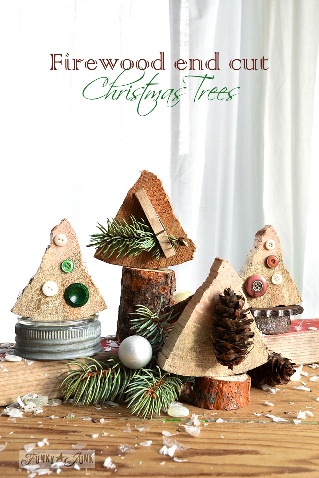Firewood Christmas trees, made instantly from cutting ends off firewood! Easy to make, fun to decorate.  via https://www.funkyjunkinteriors.net/