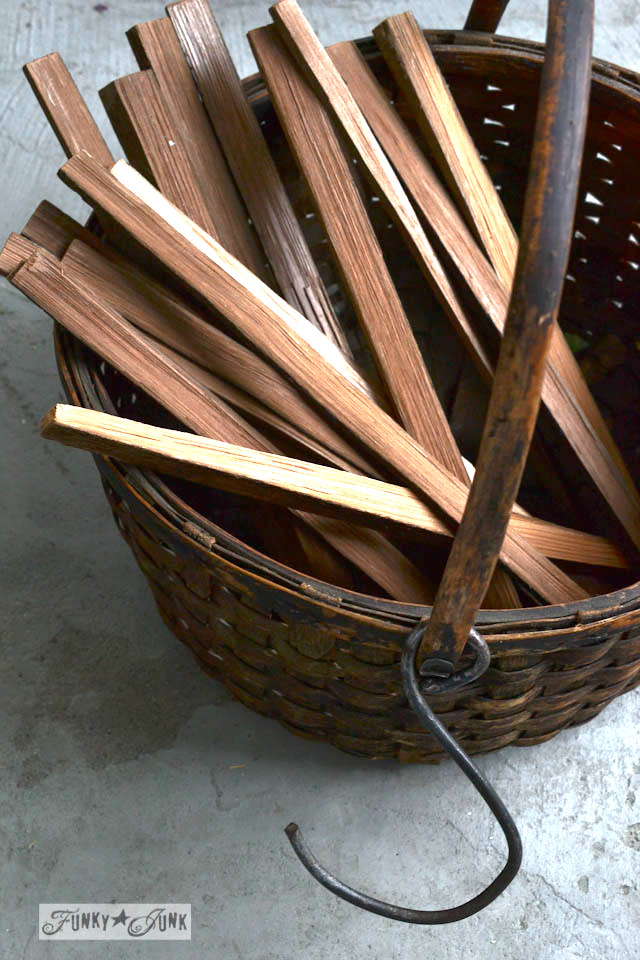 Basket of kindling / Make Christmas kindling stars... in minutes! via https://www.funkyjunkinteriors.net/