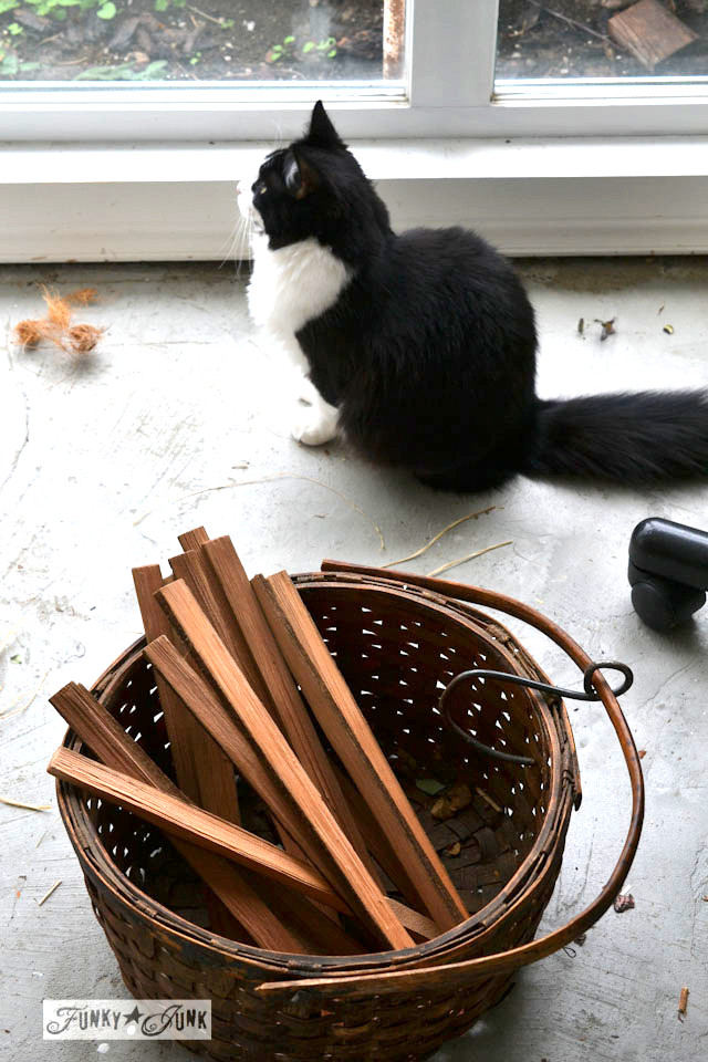 kindling in a basket / Make Christmas kindling stars... in minutes! via https://www.funkyjunkinteriors.net/