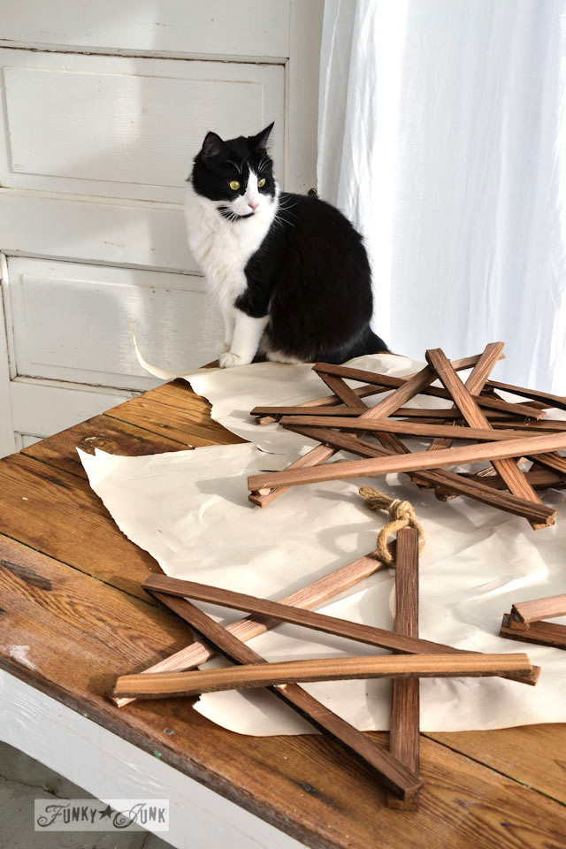 Tuxedo cat and kindling stars / Make Christmas kindling stars... in minutes! via https://www.funkyjunkinteriors.net/