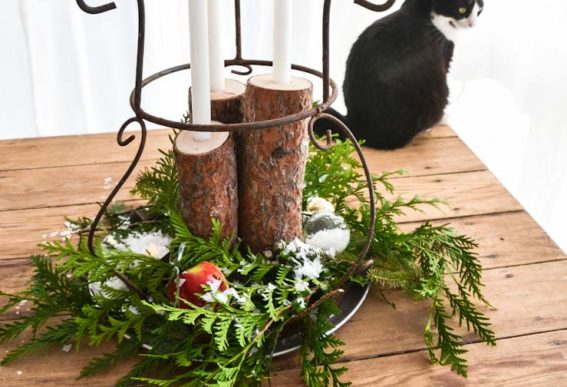log candles centerpiece Christmas