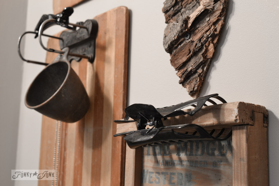Junky wall in bathroom /  A little new old upcycled bathroom organizing via http://www.funkyjunkinteriors.net/