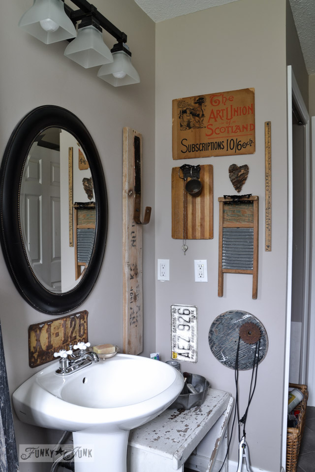 Eclectic bathroom wall / A little new old upcycled bathroom organizing via https://www.funkyjunkinteriors.net/