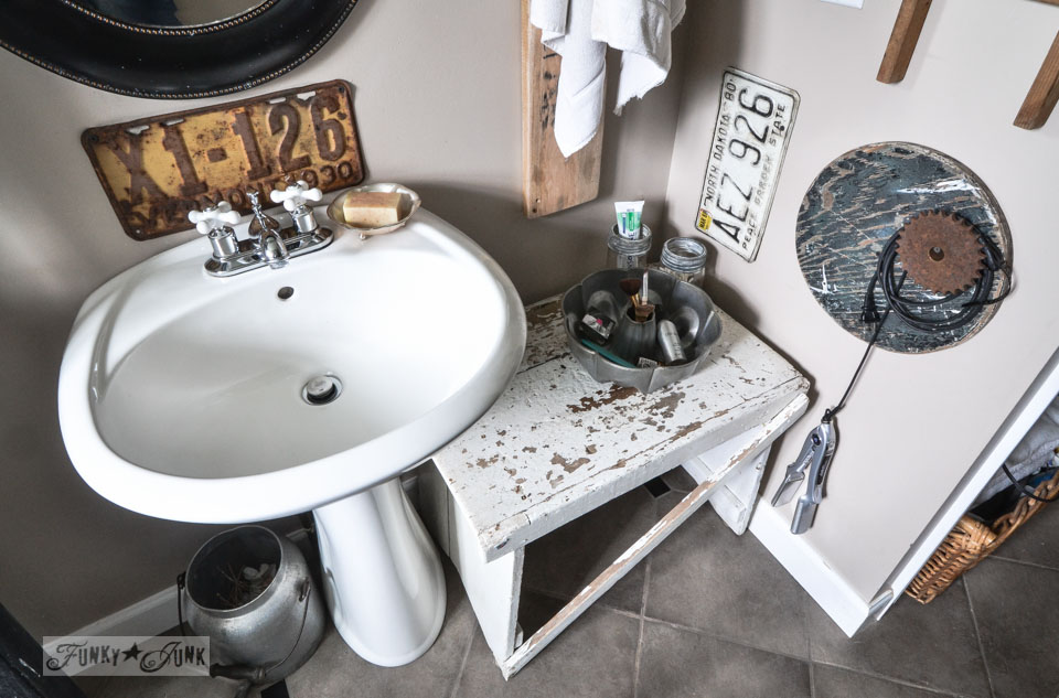 Pedestal sink and little white bench for counter / A little new old upcycled bathroom organizing via http://www.funkyjunkinteriors.net/