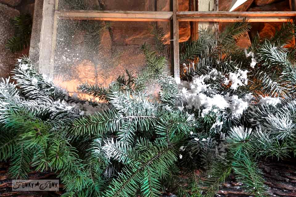 How to add spray snow realistically / Illuminated old windows Christmas mantel via https://www.funkyjunkinteriors.net/