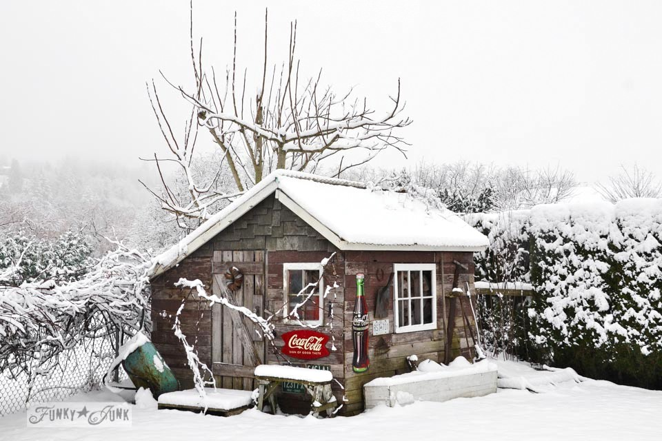A winter photoshoot of an outdoor garden shed / Part of How to get through changing seasons.. an inspirational post on FunkyJunkInteriors.net