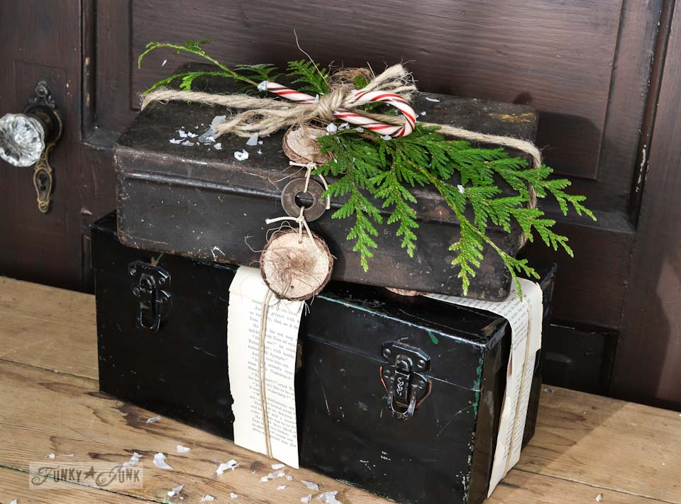 Rusty toolbox pretend Christmas presents via https://www.funkyjunkinteriors.net/