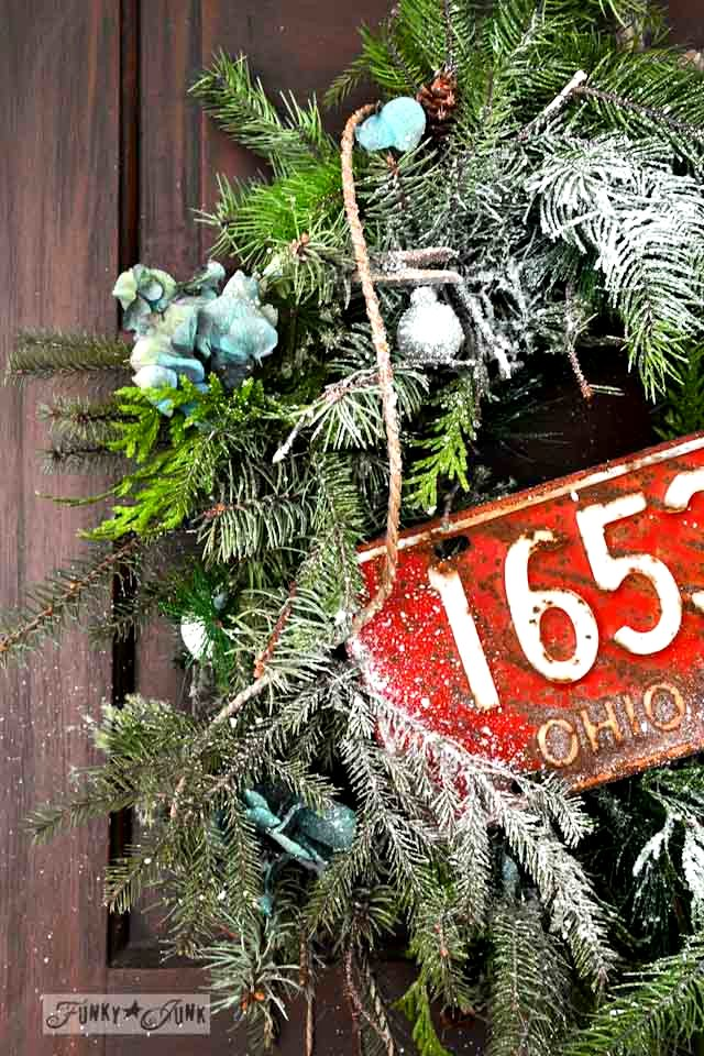 A rustic wreath from an old garland via https://www.funkyjunkinteriors.net/