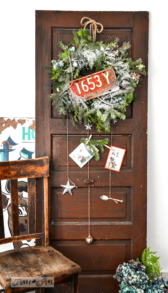 Faux garland wreath on FunkyJunkInteriors.net
