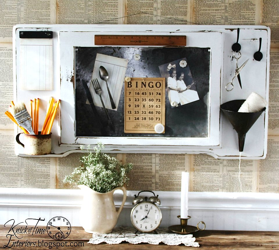 Repurposed sewing machine table memo board by Knick of Time Interiors