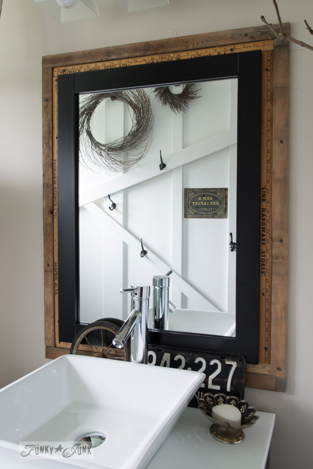Salvaged Farmhouse Bathroom Makeover With Vintage Window Moulding