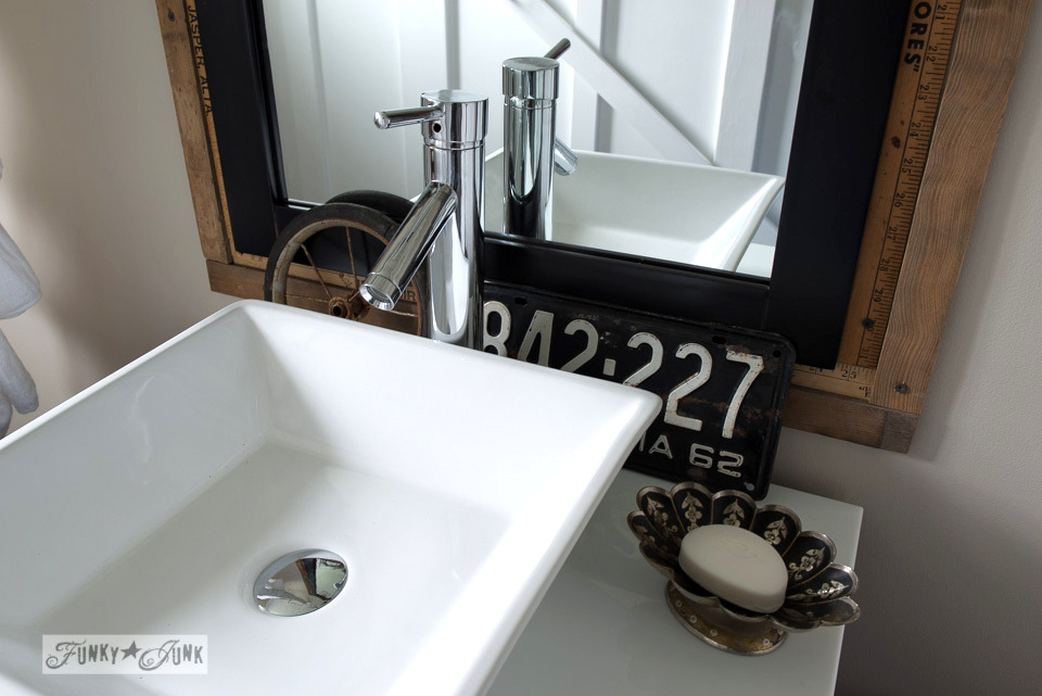 Vessel sink and vanity by VirtuUSA / Salvaged farmhouse bathroom makeover via https://www.funkyjunkinteriors.net/