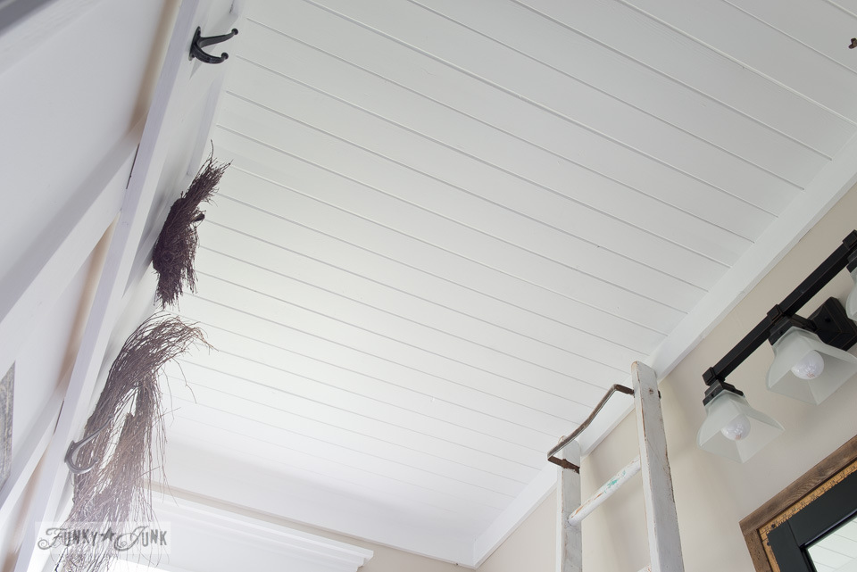 Planked ceiling in salvaged farmhouse bathroom makeover via FunkyJunkInteriors.net