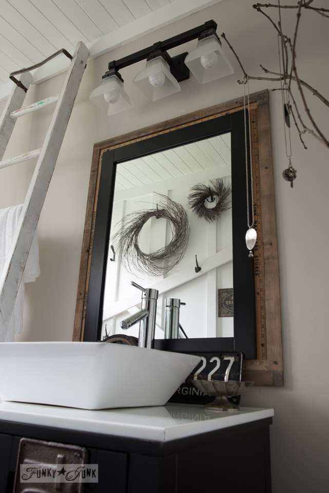 Yardstick And Reclaimed Wood Mirror Frame / Salvaged Farmhouse Bathroom  Makeover Via Http://