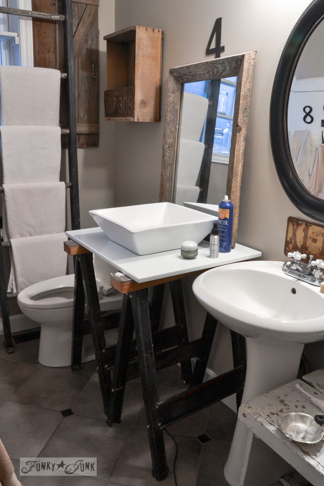Modern meets rustic / Master bathroom wins, voice of reason loses... the makings of a new bathroom renovation via http://www.funkyjunkinteriors.net