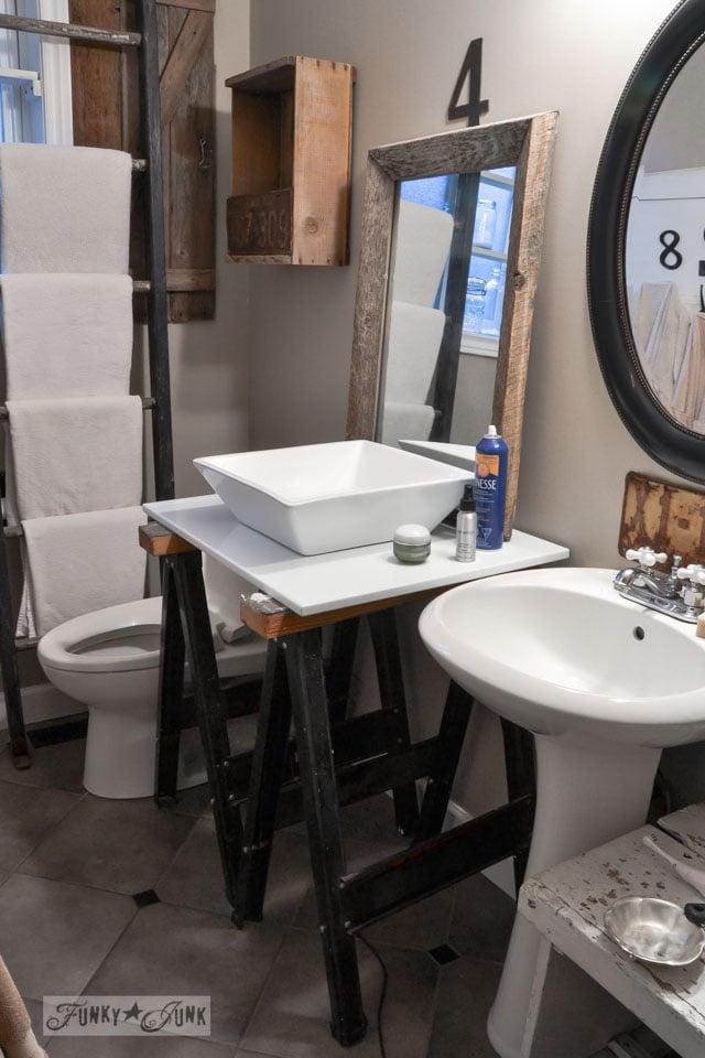 Modern meets rustic / Master bathroom wins, voice of reason loses... the makings of a new bathroom renovation via https://www.funkyjunkinteriors.net
