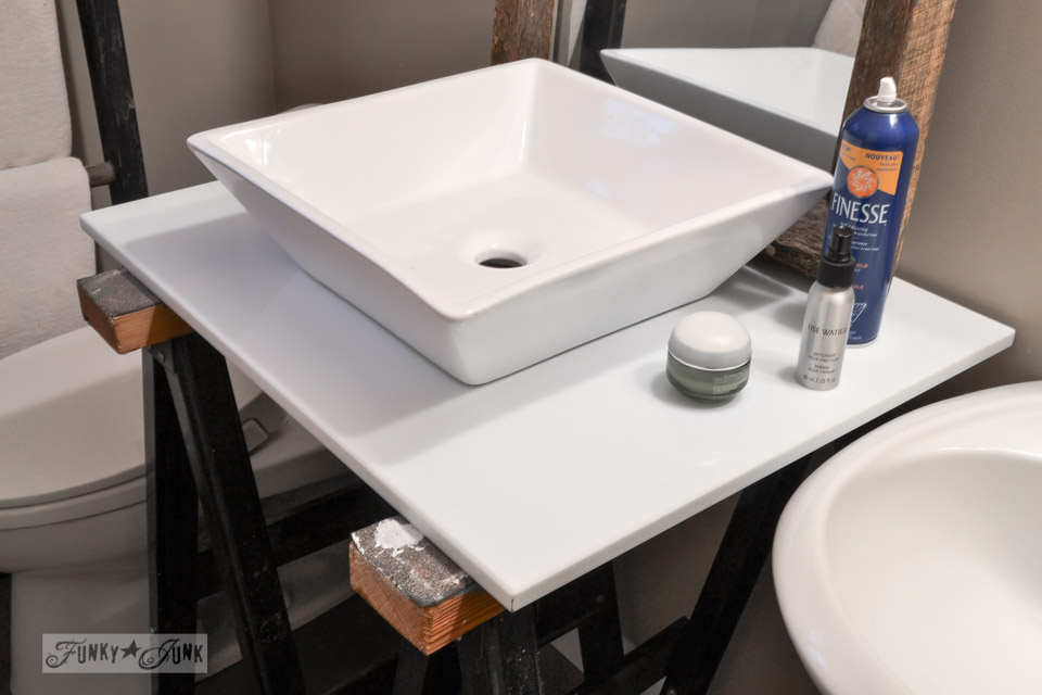 square white sink /  Master bathroom wins, voice of reason loses... the makings of a new bathroom renovation via http://www.funkyjunkinteriors.net