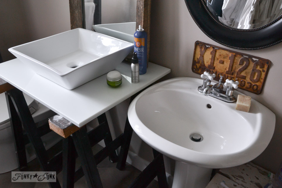 square sink / Master bathroom wins, voice of reason loses... the makings of a new bathroom renovation via http://www.funkyjunkinteriors.net