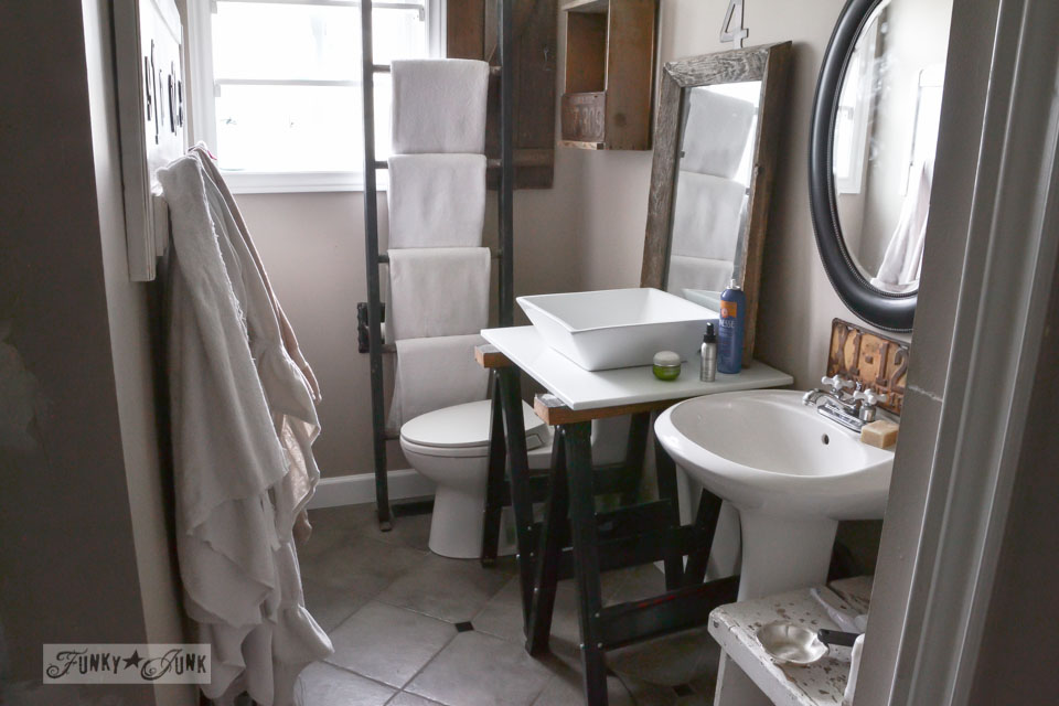 setting up a bathroom by dry fitting new vanity parts | funkyjunkinteriors.net