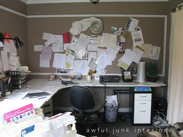 Office before / How to create a new room you NEED. Part of the series, Reclaim Your Space, via http://www.funkyjunkinteriors.net