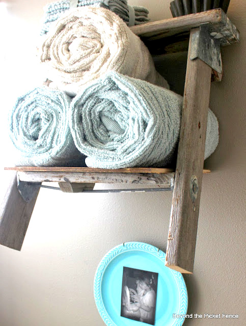 Ladder towel holder by Beyond the Picket Fence