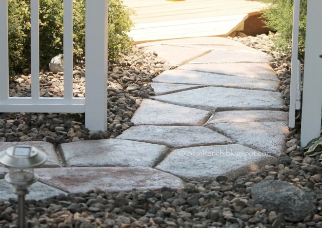 Faux stone walkway via Bliss Ranch