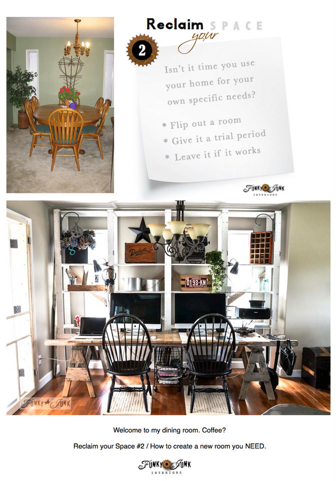 How to create a room you NEED / part 2 of Reclaim your Space, a series on making your home work for you today via https://www.funkyjunkinteriors.net/