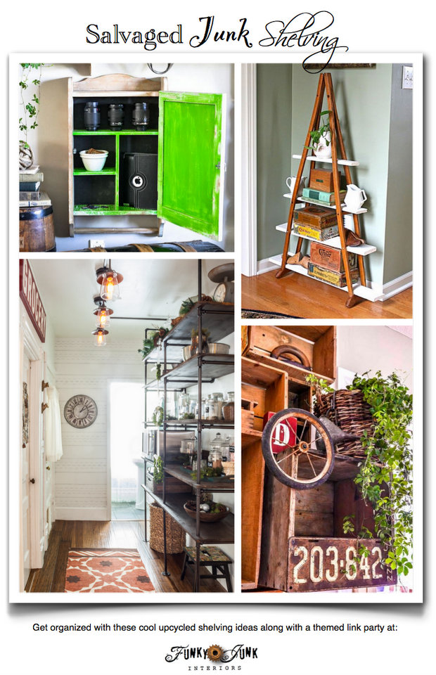 Salvaged Junk Shelving - get inspired with these amazing features plus a themed linkup via https://www.funkyjunkinteriors.net/
