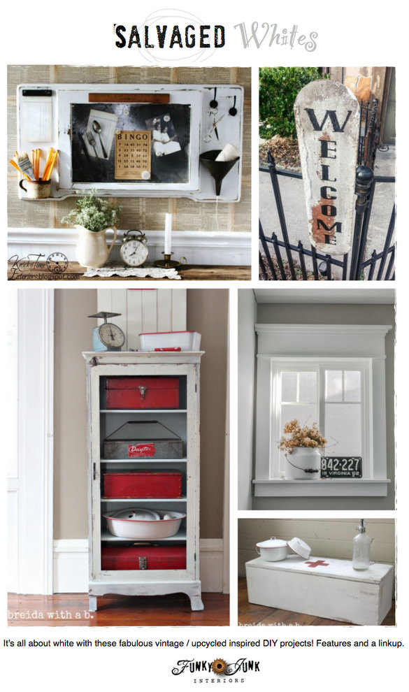 Salvaged DIY Whites - white DIY projects with a salvaged or vintage edge / features and a link party via https://www.funkyjunkinteriors.net/