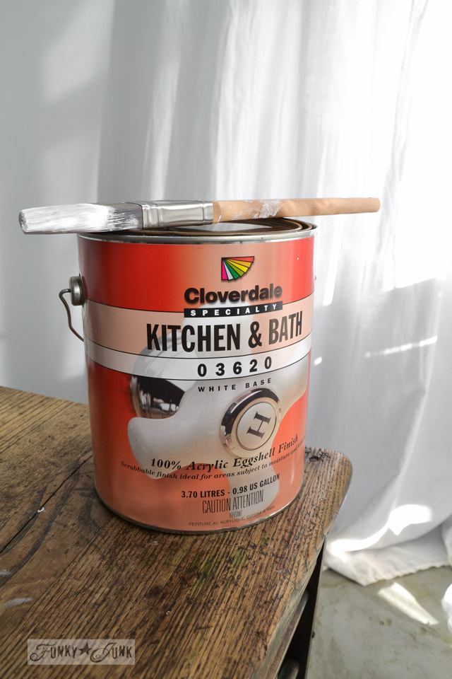 Cloverdale Kitchen and Bath eggshell finish with a brush / How to plank a bathroom ceiling with pine planks - full tutorial via http://www.funkyjunkinteriors.net/