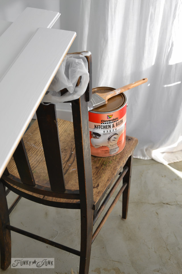 how to whiten your white paint / How to plank a bathroom ceiling with pine planks - full tutorial via http://www.funkyjunkinteriors.net/