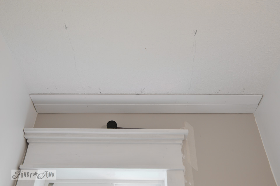 installing a plank ceiling / How to plank a bathroom ceiling with pine planks - full tutorial via http://www.funkyjunkinteriors.net/