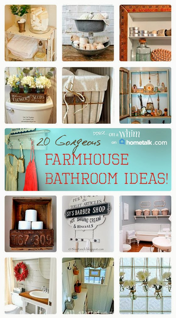 20 gorgeous farmhouse bathroom additions on Hometalk, featured on https://www.funkyjunkinteriors.net/