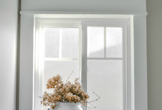 farmhouse window with moulding