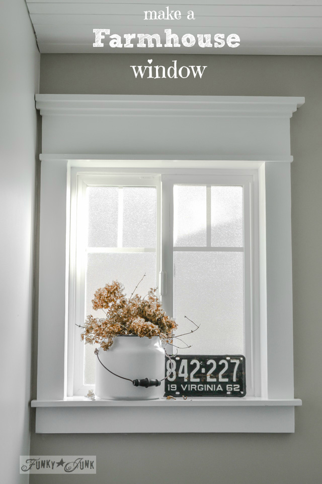 Make a farmhouse window with no miter cuts nor fancy wood pieces in sight! via https://www.funkyjunkinteriors.net/